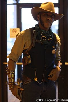 Tony Ballard-Smoot as a steampunk cowboy. TeslaCon 2015.