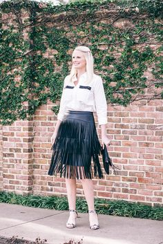 BCBG Fringe Leather Skirt