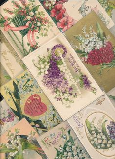 ~17 NICE LILY OF THE VALLEY Flowers Greetings  Postcards Lot-Vintage~a84 #HolidaysGreetings
