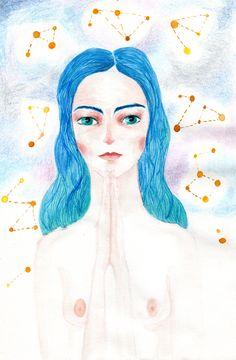 Con la testa tra le stelle. Illustrazione, acquerello e pastelli. 2014