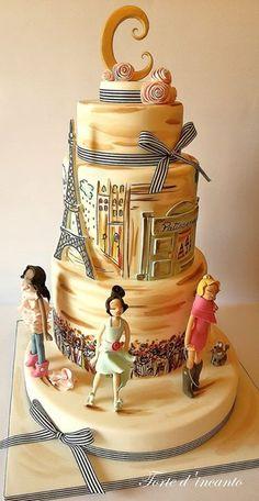 Fashion in Paris...ispirata alle bellissime illustrazioni di Izak Zenou - Torte d'incanto, facebook