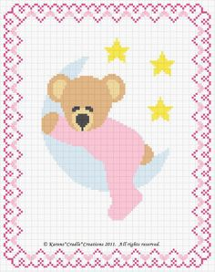 SLEEPY BEAR ON THE MOON Counted Cross Stitch Pattern Chart *EASY*