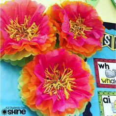 gorgeous tissue paper flowers for a bulletin board, more classroom decor ideas: https://goo.gl/K5F1o7