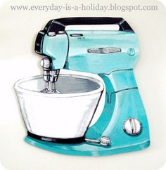 My fav. I bought a real kitchen aid mixer in turquoise myself. Visit their website. They have many more awesome art work. Check out their site http://everydayisaholiday.bigcartel.com/product/jumbo-aqua-vintage-mixer-wood-diecut