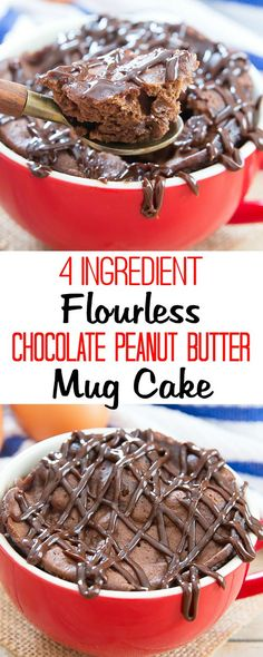 4 Ingredient Flourless Chocolate Peanut Butter Mug Cake