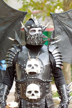 """Evil black leather armor - Today's Action Photo is a picture of a very impressive suit of armor for the evil spine-ripping demon set manufactured by the amazing Lord Entropy's Armour & Leatherworks (I think) at the Texas Renaissance Festival!"""