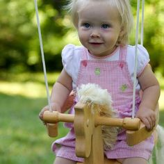 A gentle swinging motion is soothing and fun for infants and young toddlers alike. Our Horse Swing is made of solid wood with safety side pieces to keep your rider in her seat. The sturdy ropes allow the swing to be hung from a low tree branch or a strong bar in your home.