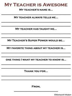 Fill In The Blank Sheets For Teacher Appreciation  Google Search