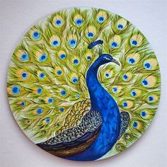 Products - Dan Johnson Designs - Hobbies paining body for kids and adult Peacock Wall Art, Peacock Painting, China Painting, Ceramic Painting, Stone Painting, Ceramic Art, Circle Painting, Round Canvas, Indian Art Paintings