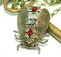 Steampunk Necklace Cicada Gothic Bug Art Noveau by DesignsBloom, $54.99