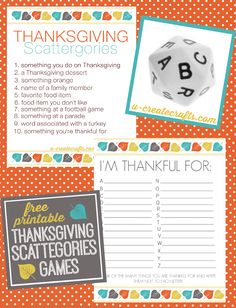 Thanksgiving Scattergories FREE Printables by U Create