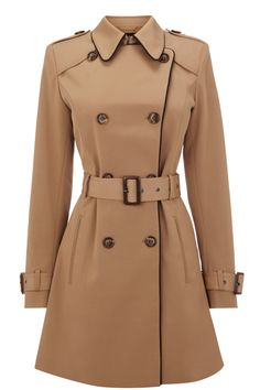 Warehouse  I love few coats more than a solid trench. This one is especially gorgeous. It is the go-with-anything classic camel, but check out the black piping and military style. Cute and classic.