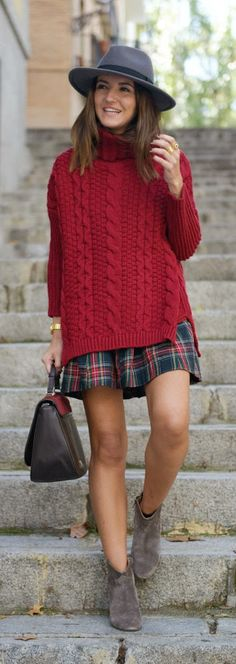 Burgundy sweater + plaid...