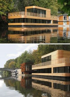 11 Awesome Examples Of Modern House Boats // This houseboat in Germany, combines the character of a boat with the comfort of a traditional family home. Floating Architecture, Contemporary Architecture, Sustainable Architecture, Houseboat Living, Lakefront Property, Floating House, Boat Design, Water Crafts, Rustic Design