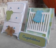 Kat's Scrap Box: Baby Side-Step Card - Crib and Dresser Card Baby Boy Cards, New Baby Cards, Baby Shower Cards, Fancy Fold Cards, Folded Cards, Side Step Card, Stepper Cards, Shaped Cards, Easel Cards