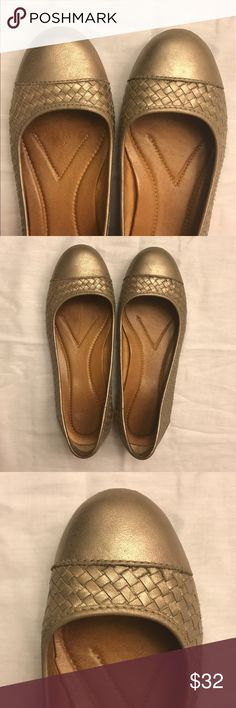 "Gold Nurture Ballet Flats Nurture """"Charliee."" Gold ballet flats with basket weave detail. Size 7M. Leather upper & lining; manmade sole. Preloved with normal wear. Great for casual Friday or with your favorite jeans! Nurture Shoes Flats & Loafers"