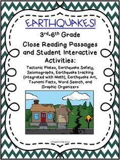 This is a 44-page file for you to use to teach earthquakes and tsunamis for up to 2 weeks.  It includes 3 text passages and the student book with interactive activities and writing, as well as some of my graphic organizers to meet the RI standards- CCSS Aligned.For the ultimate 101-page month-long unit that includes detailed close reading lesson plans, ALL of the graphic organizers, vocabulary cards, comprehension questions, vocabulary tests, etc., click here:...