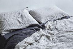 100% Linen Duvet Cover in Grey & White Stripe   IN BED Store