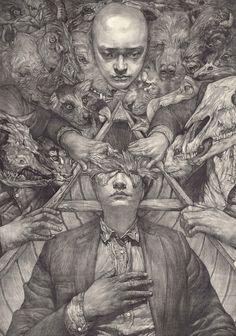 The Incredible Dark skills of So PineNutSo PineNut Paintings and Illustration Fantastic illustrations from Japanese artist So PineNut. When viewed together, So's work seems to tell the story of some. Art And Illustration, Dark Fantasy Art, Arte Inspo, Illustrator, Dark Art Drawings, Occult Art, Creepy Art, Psychedelic Art, Horror Art