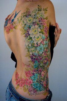 color, flowers, side, rtattoos, tattoos