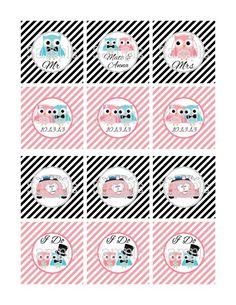 Printable Wedding Owls Pink & Black 2.25 Square Cupcake Toppers | aMerAZNStyLe - Digital Art  on ArtFire