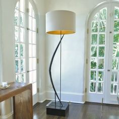Lamps and Lighting – Home Decor : Two polished Gemsbok horns are welded end to end to form the Gemsbok Horn Bow Floor Lamp by Pfeifer Studio. -Read More – Elegant Home Decor, Elegant Homes, African Home Decor, Thing 1, Interior Design Magazine, Handmade Furniture, Furniture Ideas, Sconce Lighting, Home Decor Inspiration