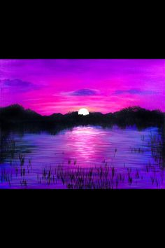 Purple sunset across the lake painting idea, art.
