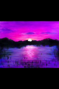 Purple sunset across the lake painting idea, art.