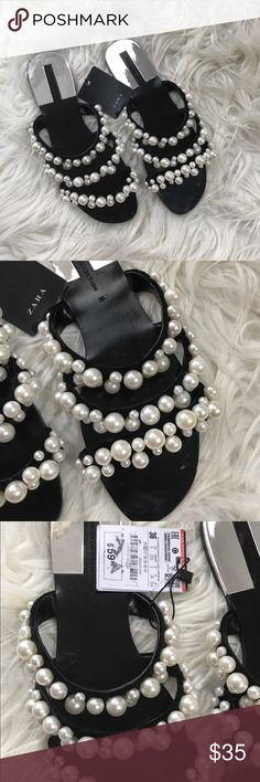 Zara pearl flat sandals black ivory Zara Black patent leather ivory pearl flat sandals size 6. 3 Strap flat. Never worn but has a few scuffs from storage (pictured). Bundle and save! Zara Shoes Sandals