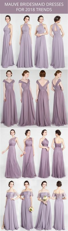 mauve bridesmaid dresses for 2018 trends #bridalparty #bridesmaiddresses #purplewedding #mauvewedding