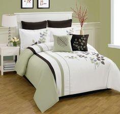 8 Piece Queen Olney Leaf Embroidered Bedding Comforter Set KingLinen,http://www.amazon.com/dp/B00HFEJE9W/ref=cm_sw_r_pi_dp_Ip9ftb1M2A31RSDV