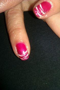 Uv shellac gel polish in hot chillis, with nail art