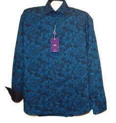 Bertigo Blue Flower Cotton Fancywork Men Dress Shirt Size 5 / XL NEW #Bertigo #ButtonFront