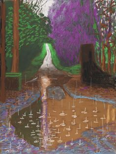 David Hockney<br> The Arrival of Spring in Woldgate, East Yorkshire in 2011 (twenty eleven)<br>- 18 December<br> iPad drawing printed on four sheets of paper, mounted on four sheets of Dibond<br> 96 x 72 in. (244 x 183 cm) framed<br> Edition of 10<br> Private collections