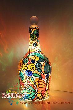 Tiffany Mosaic Style Lamp. Bottle Light. Upcycled. by RandamArt