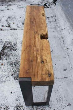 thedesignwalker: Reclaimed Wood and Steel Bench by JAHdesign: Banco Madeira Barns Woods Steel Benches Benches Di Reclaimed Woods Woods Steel Jahdesign Discov Furniture Woods And Steel Woods Benches