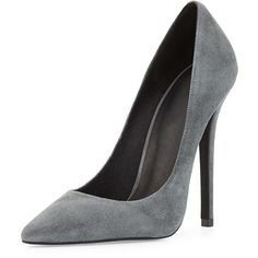 Jeffrey Campbell Darling Suede Pump, Dark Gray found on Polyvore