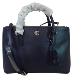 Tory Burch Navy Saffiano Leather Robinson Mini Double-zip Blue Satchel. Save 9% on the Tory Burch Navy Saffiano Leather Robinson Mini Double-zip Blue Satchel! This satchel is a top 10 member favorite on Tradesy. See how much you can save