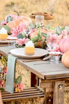 Fall Pumpkin Floral Blush Tablescape (+ Pumpkin Cheesecake Recipe - All For Garden Baby Shower Fall, Fall Baby, Girl Shower, Thanksgiving Decorations, Halloween Decorations, Wedding Decorations, Table Decorations, Wedding Ideas, Pink Pumpkins