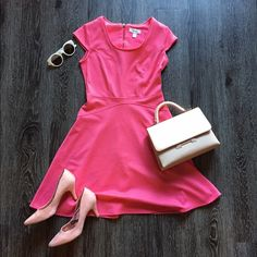 HP Hot pink skater dress Gently used, worn once. There is a tiny tiny snag on the front, otherwise it is like new! This is a great dress for spring! 34 inches long. Dress Barn Dresses Mini