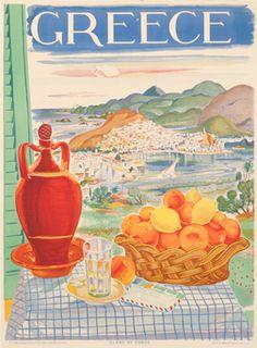 Greece Greek Island of Poros Isle Europe Vintage Travel Advertisement Poster in Art, Art from Dealers & Resellers, Posters Old Posters, Vintage Advertising Posters, Retro Poster, Poster Ads, Vintage Travel Posters, Vintage Advertisements, Vintage Ads, Poster Prints, Vintage Type