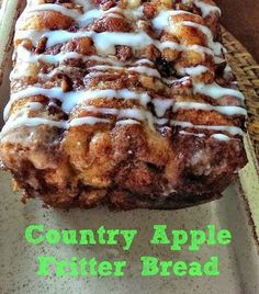 Checkout the awesome country Apple Fritter Bread at The Baking ChocolaTess! Delight everyone's taste buds with delicious fluffy, buttery apple fritter bread here. Apple Fritter Bread, Apple Cinnamon Bread, Apple Bread, Baked Apple Fritters, Carrot Cake Bread, Apple Pie Cake, Apple Cookies, Cinnamon Apples, Cinnamon Rolls