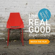 """Love all the crazy antics at Blu Dot--like their """"do not click here"""" button on their website.  And the translucent logo. Always something irreverent. Tag: Good Design is Good."""
