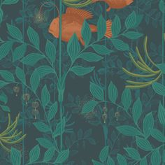 Cole & Son 103/4019 Whimsical wallpaper of fish swimming in a forest of plants.