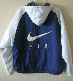 VTG Mens NIKE AIR Hooded LINED WINDBREAKER JACKET Size L Large Free Shipping