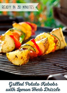 Grilled Potato Kabobs are made to be customized. Tailor-make this recipe using your favorite spices and delicious chicken sausage. Then, top it off with Lemon Herb Drizzle for a simply sizzling meal! Grilling Recipes, Cooking Recipes, Grilling Ideas, Grill Meals, Vegan Grilling, Bbq Ideas, Bbq Grill, Food Ideas, Potato Recipes
