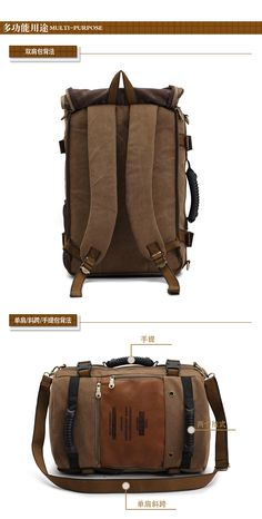 Multifunctional large capacity leather canvas backpacks men luggage travel bags drop shipping duffle bag hot sale FH09-inBackpacks from Lu...