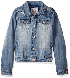 Levi's Big Girls' Denim Classic Trucker Jacket, Weathered Indigo, Small #instafashion *** Check out the image by visiting the Amazon affiliate link.