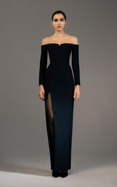 Shop Off-Shoulder Crepe Corset Gown. Rasario's off-the-shoulder gown features long sleeves with a fitted bodice, a column skirt and a thigh high slit at side. Elegant Dresses For Women, Cute Dresses, Prom Dresses, Formal Dresses, Dior Haute Couture, Facon, Looks Style, Mode Style, Beautiful Gowns