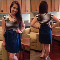 The Amanda Dress $20 Oh so darling dress. Perfect navy color that is popular for spring! Easy pull-on style made with cotton/spandex mix for a comfy fit. I have 3 Mediums Left!!! Dresses
